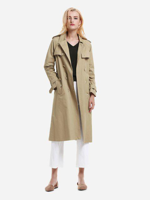 Longline Silhouette Double Breasted Belted Trench Coat - KHAKI M
