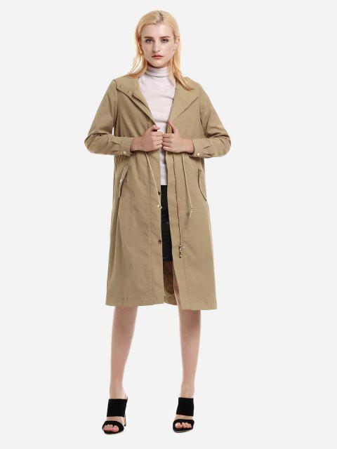 Longline Silhouette Belted Hooded Trench Coat - KHAKI M