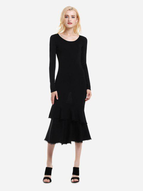 ZAN.STYLE Long Sleeve Slim Fit Sweater Dress - BLACK L