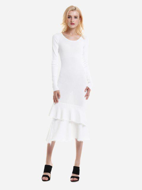Long Sleeve Slim Fit Sweater Dress - WHITE L