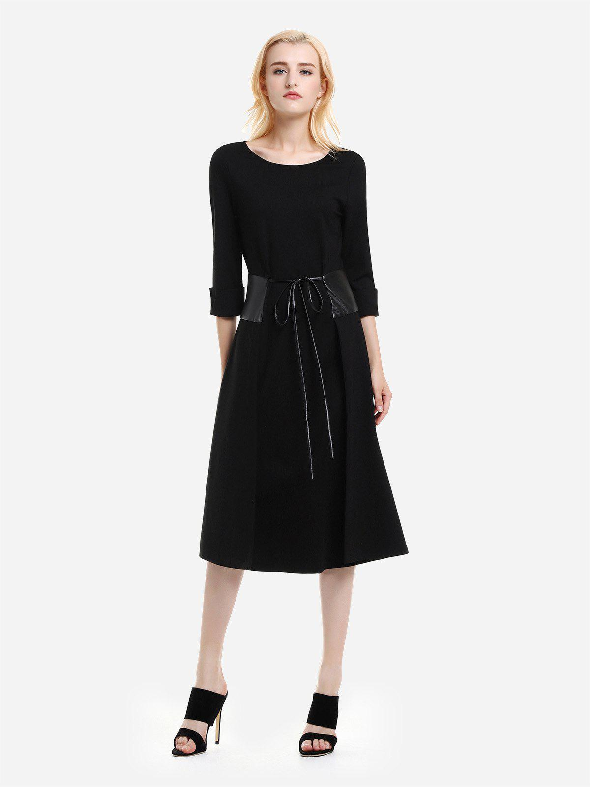 ZAN.STYLE Below the Knee Long Sleeve Dress - BLACK 2XL