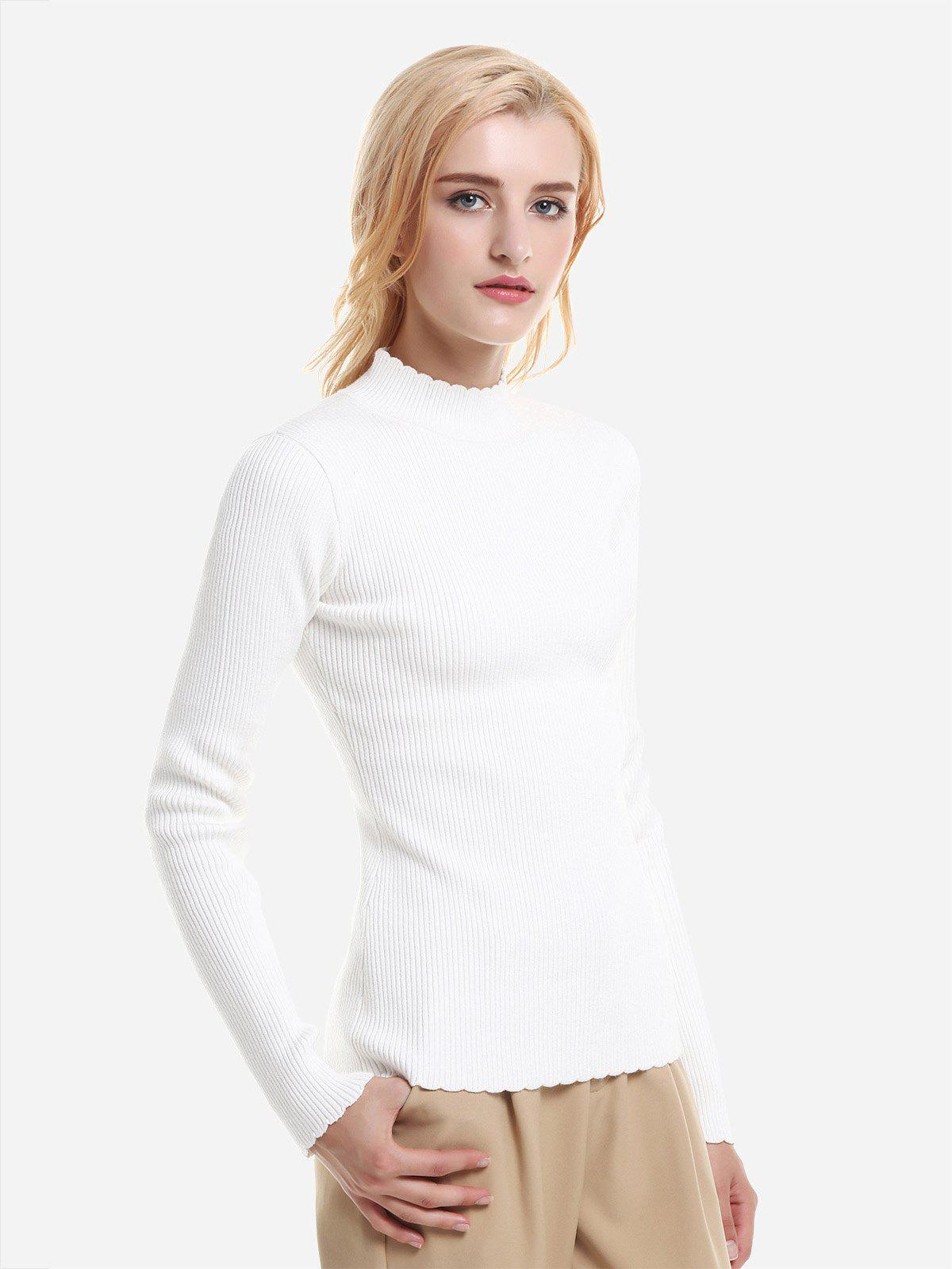 Mock Neck Slim Fit Sweater - CREME BLANC XL