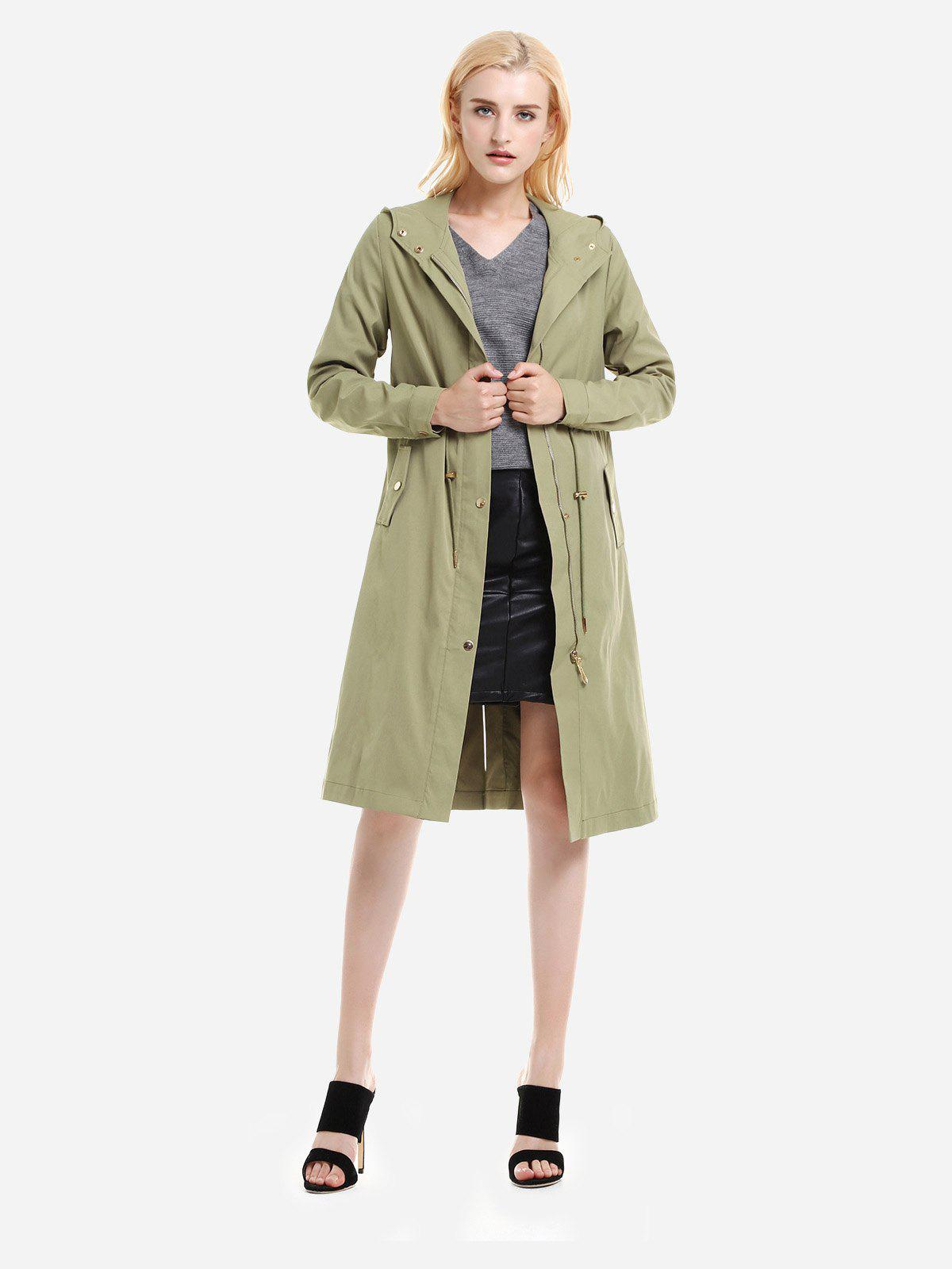 ZAN.STYLE Longline Silhouette Belted Hooded Trench Coat - LIGHT GREEN XL
