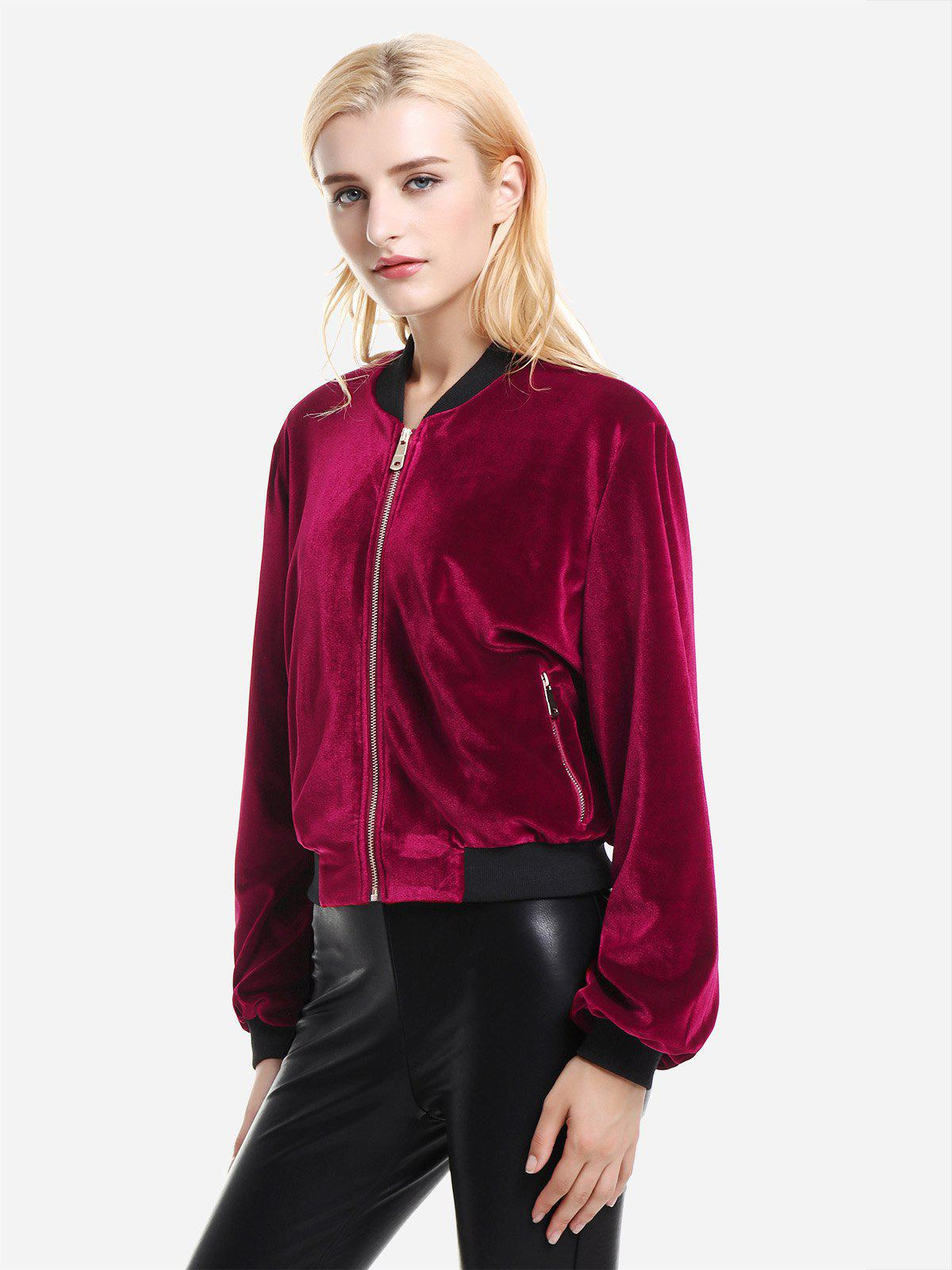 ZAN.STYLE Ribbed Trim Velvet Jacket