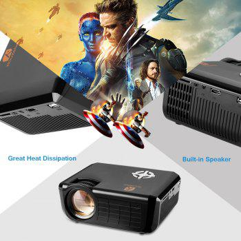 Houzetek 720P 1800 Lumens Private Theater Projector - BLACK BLACK