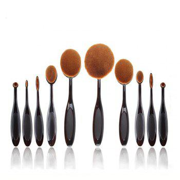 TODO 10pcs All in One Professional Oval Makeup Brushses - BLACK COLOR BLACK COLOR