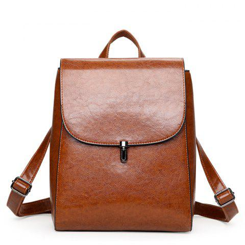 Fashion Retro Solid Color PU Backpack for Women - BROWN