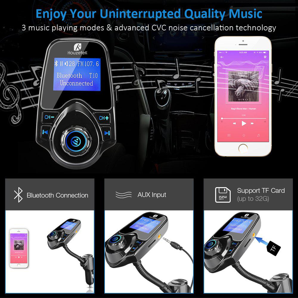 Houzetek Car Bluetooth FM Transmitter - BLACK