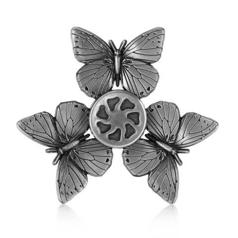Retro Butterfly Zinc Alloy Fidget Tri-spinner Pressure Reducing Toy - SILVER