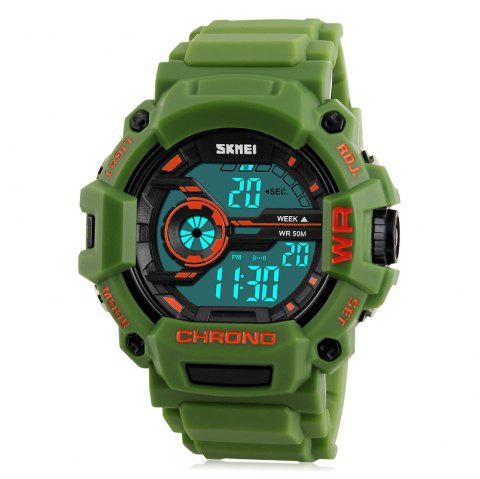 SKMEI 1233 EL Backlight Alarm Sports Watch with 50M Waterproof for Men - ARMY GREEN