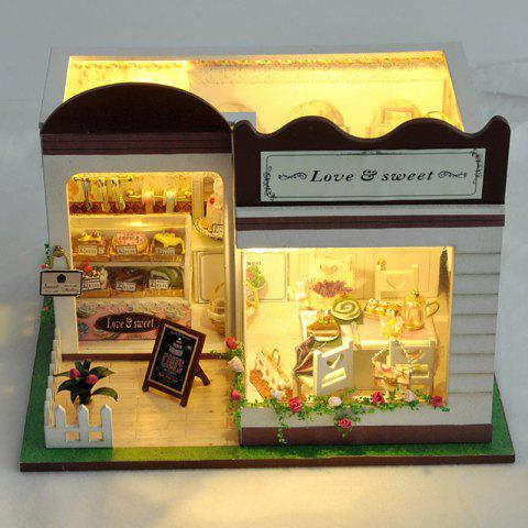 DIY Pretend Play Simple Style Wooden Dollhouse Set for Kids - COLORMIX