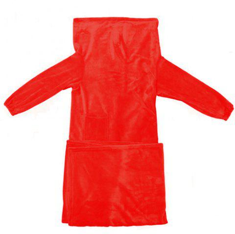 Deluxe Wearable Blanket Lounging Warm Soft Adult Throw Robe for Women Men - RED