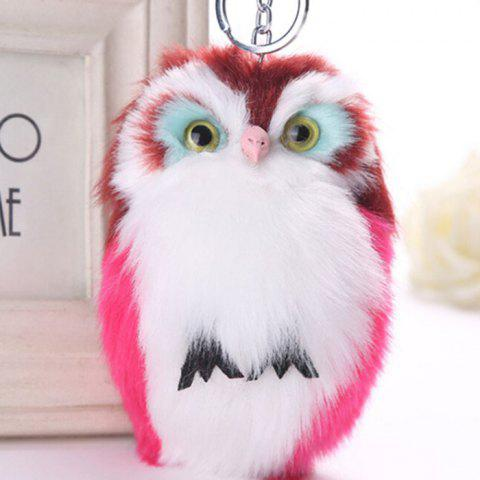 Lovely Owl Style Artificial Rabbit Fur Key Ring - ROSE RED