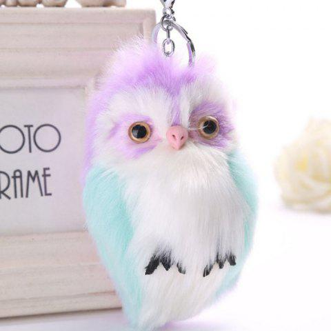 Lovely Owl Style Artificial Rabbit Fur Key Ring - PURPLE