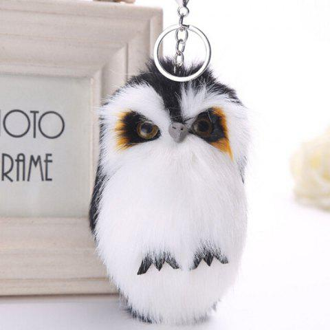 Lovely Owl Style Artificial Rabbit Fur Key Ring - BLACK