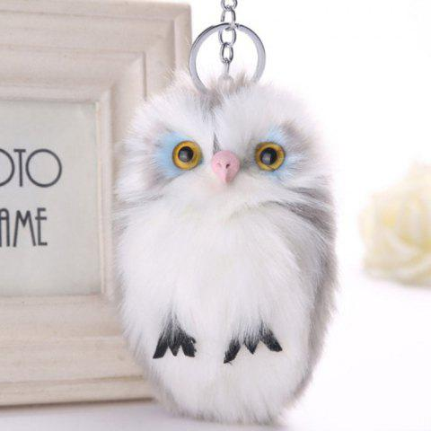 Lovely Owl Style Artificial Rabbit Fur Key Ring - GRAY