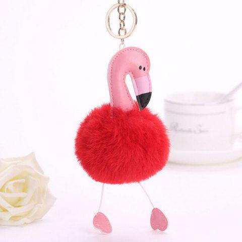 Lovely Cartoon Flamingo Style Hang Decoration for Key Chain / Bag - RED