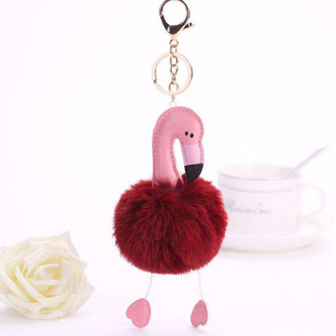 Lovely Cartoon Flamingo Style Hang Decoration for Key Chain / Bag - WINE RED
