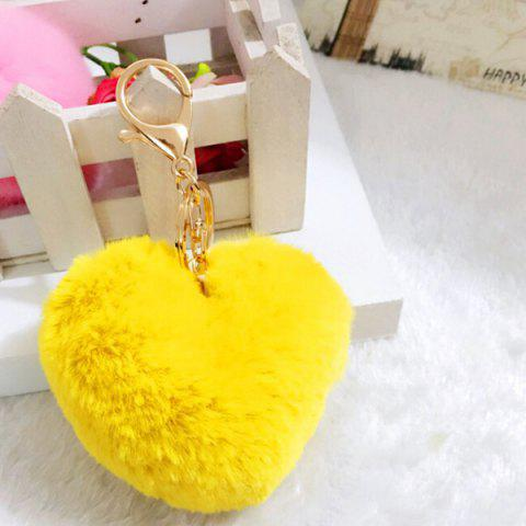 Lovely Heart Pattern Plush Key Chain Hang Decoration for Bag / Car - YELLOW