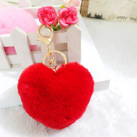 Lovely Heart Pattern Plush Key Chain Hang Decoration for Bag / Car - RED