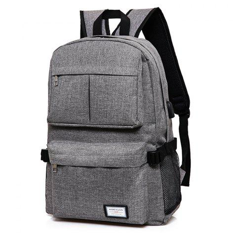 Simple Solid Color Canvas Backpack with USB Port for Men - GRAY