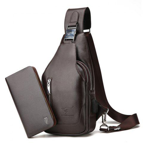 Simple Solid Color PU Shoulder Bag with Wallet for Men - BROWN