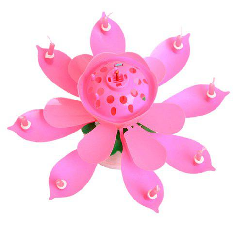Electric Birthday Candle Music Lotus Flower Cake Decoration