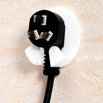 Strong Stick-Type Power Plug Hook 4pcs / Set - WHITE WHITE