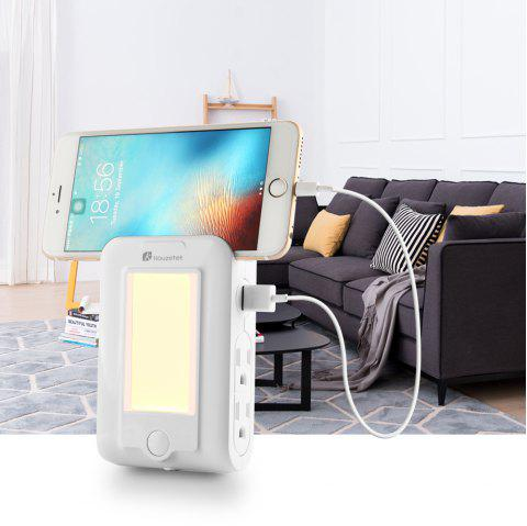 Houzetek Wall Mount USB Charger LED Sensor Night Light - WHITE