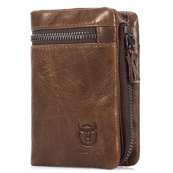 BULLCAPTAIN Trendy Genuine Leather Bifold Wallet for Men - BROWN