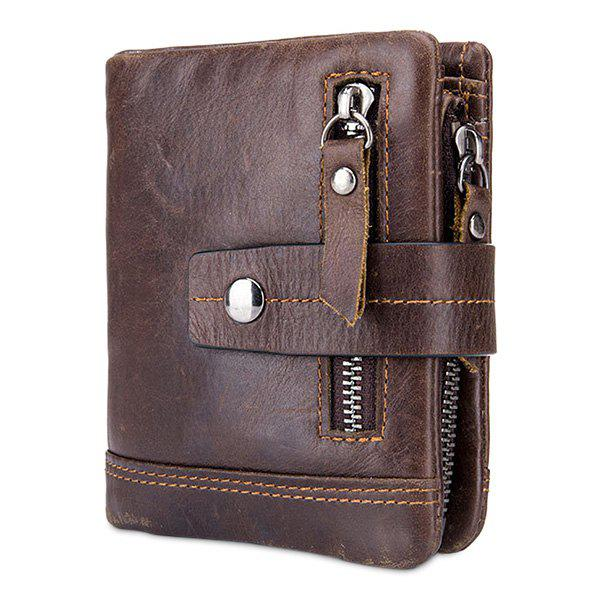 BULLCAPTAIN Trendy Genuine Leather Bifold Wallet with Buckle for Men - COFFEE