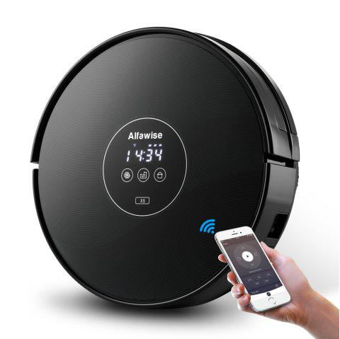 Alfawise X5 Robotic Vacuum Cleaner Strong Suction Work with Alexa - BLACK US PLUG (2-PIN)