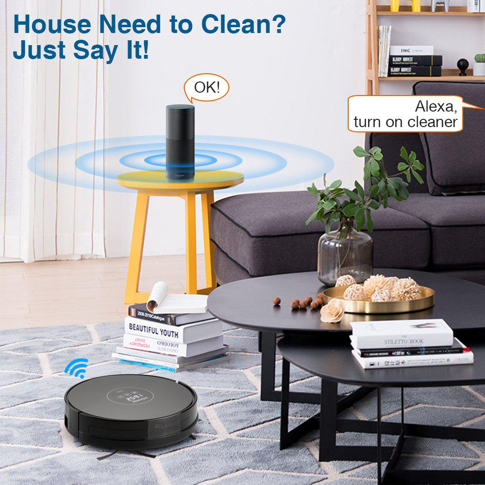 Alfawise X5 Robotic Vacuum Cleaner Strong Suction Work with Alexa - BLACK US PLUG