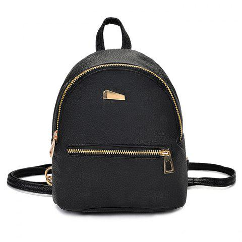 Cute Solid Color Mini Backpack for Women - BLACK