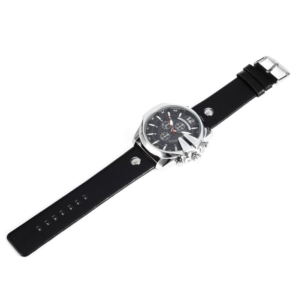Curren 8176 Men Quartz Watch with Date Display Leather Band Decorative Sub-dials - BLACK