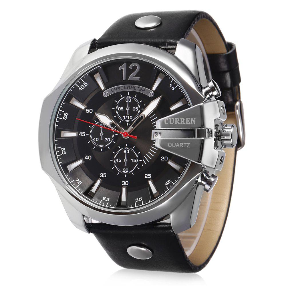 цена на Curren 8176 Men Quartz Watch with Date Display Leather Band Decorative Sub-dials