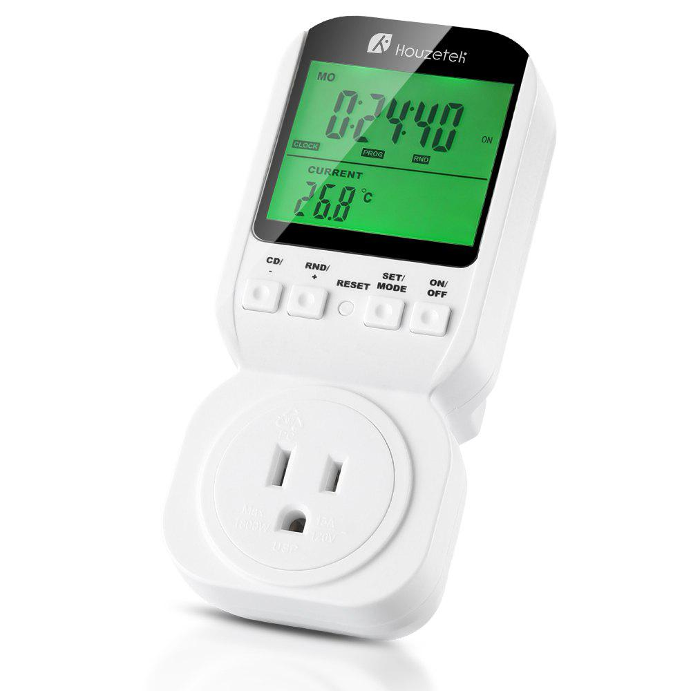 Houzetek Multifunction Thermostat Digital Programmable Timer Socket Switch - WHITE US PLUG