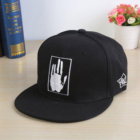 Street Hip-hop Palm Embroidery Sports Sun Cap for Couple - BLACK WHITE