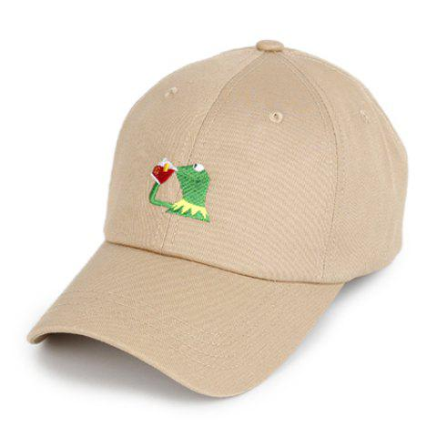 Original Breathable Embroidery Baseball Sun Cap for Couple - KHAKI