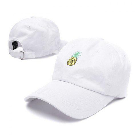 Fresh Pineapple Embroidery Baseball Sun Hat for Couple - WHITE
