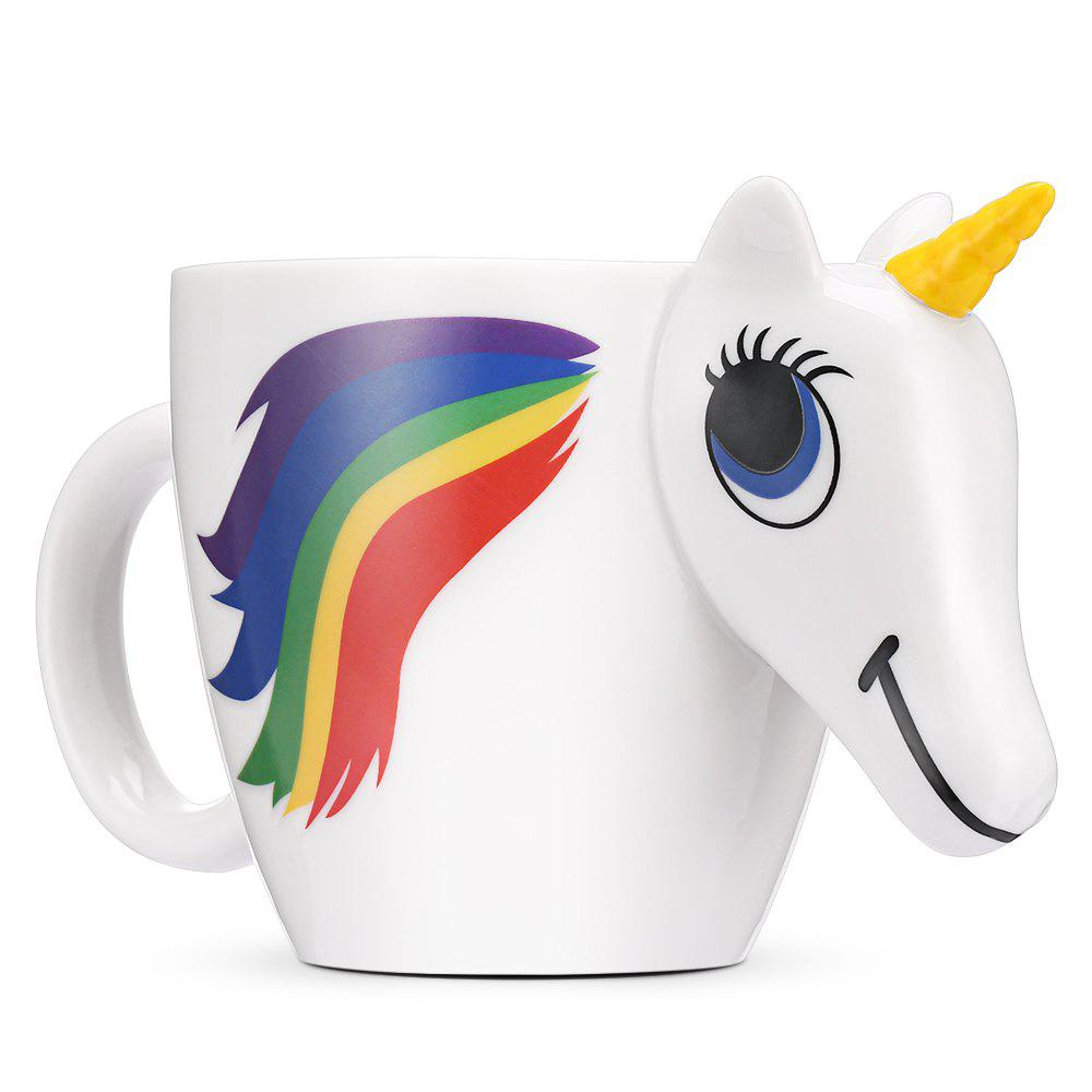 COZZINE Magic Unicorn Pattern Ceramic Heat Sensitive Mug Rainbow Color Changing Coffee Cup 3pcs / Set - WHITE 3PCS