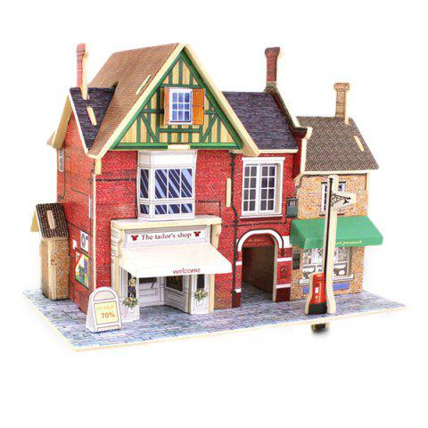 Creative DIY 3D British Style Wooden House Model Set Pretend Play Jigsaw Puzzle - COLORMIX TAILOR SHOP