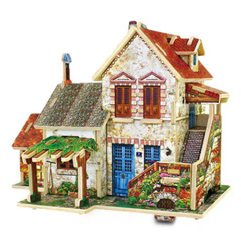 Creative DIY 3D French Style Wooden Building Model Set Pretend Play Jigsaw Puzzle - COLORMIX FARM
