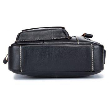 BULLCAPTAIN Genuine Leather Shoulder Bag for Men - BLACK