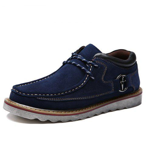 Casual Soft Anti Slip Medium Top Thickened Lace Up Retro Patent Leather Shoes for Men - BLUE 40