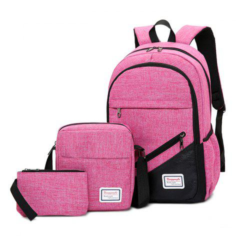 Leisure Durable Sports Canvas Backpack Shoulder Bag Handbag Set - PINK