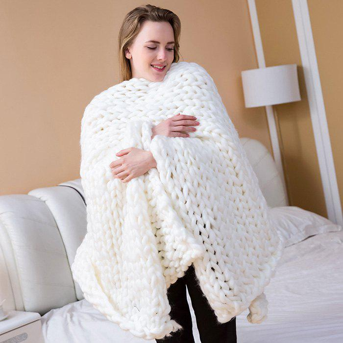 Handmade Knitted Chunky Blanket Super Thick Polyester Wedding Anniversary Gift Home Decor - WHITE