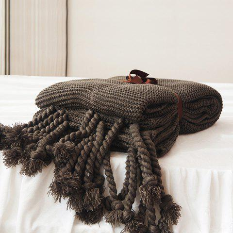 Lightweight Cross Woven Couch Throw Knitted Blankets - SMOKY GRAY