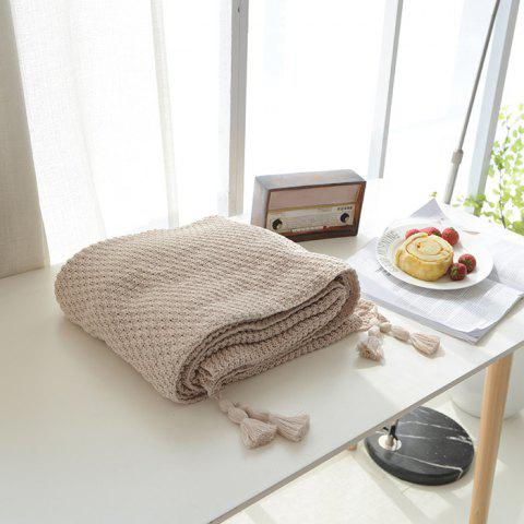 Warm Knitting Thread Tassel Blanket Home Decor - BEIGE