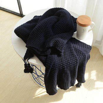 Warm Knitting Thread Tassel Blanket Home Decor - CADETBLUE